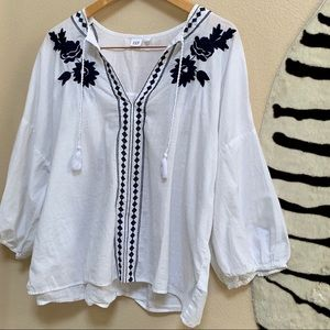 GAP EMBROIDERED BLOUSE black and white size L